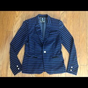 Juicy Couture black and blue striped blazer